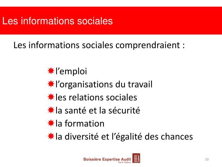 Les informations sociales