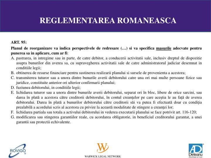 REGLEMENTAREA ROMANEASCA