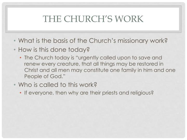 The church's work