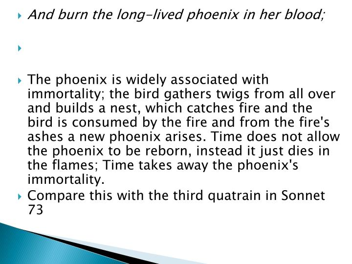 And burn the long-lived phoenix in her blood;