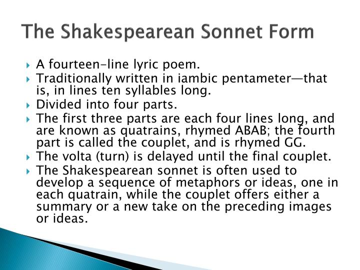 The Shakespearean Sonnet Form