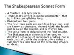 the shakespearean sonnet form