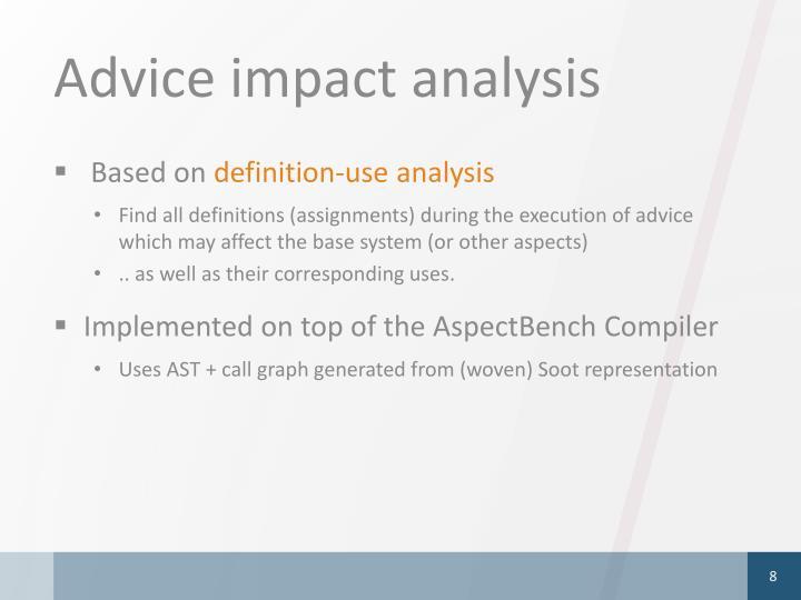 Advice impact analysis