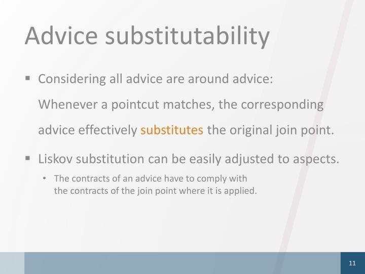 Advice substitutability