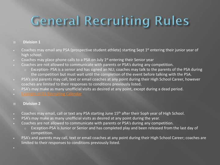 General Recruiting Rules