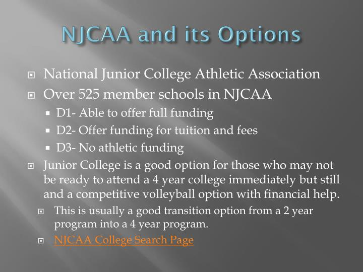 NJCAA and its Options