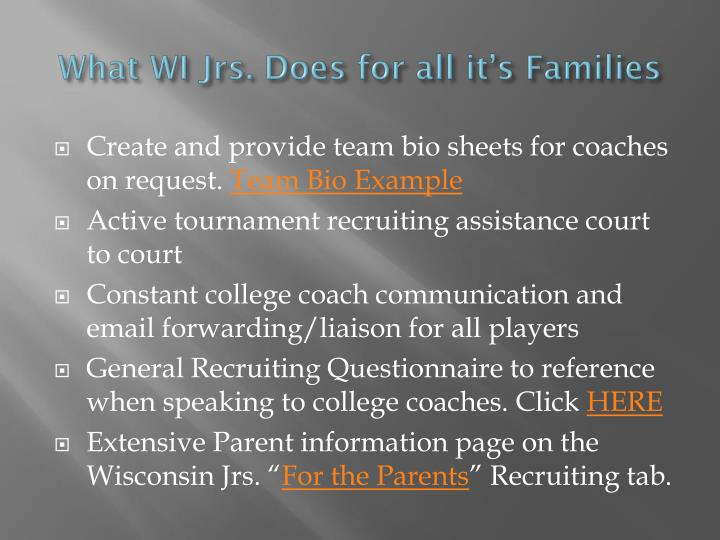What WI Jrs. Does for all it's Families