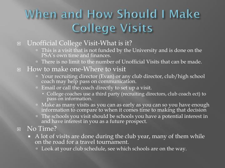 When and How Should I Make College Visits