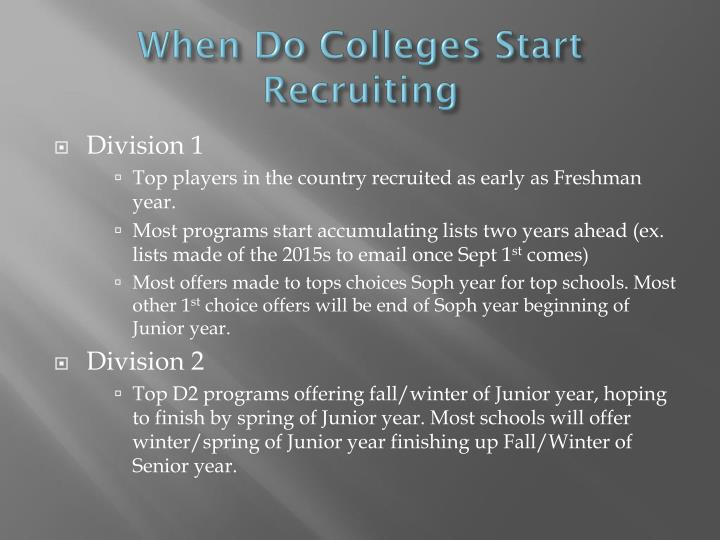 When Do Colleges Start Recruiting