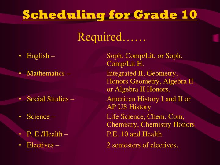 Scheduling for Grade 10