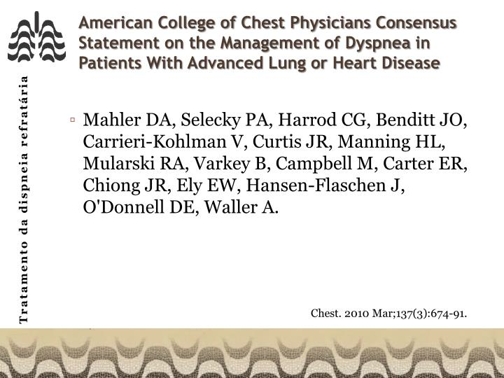 American College of Chest Physicians Consensus Statement on the Management of