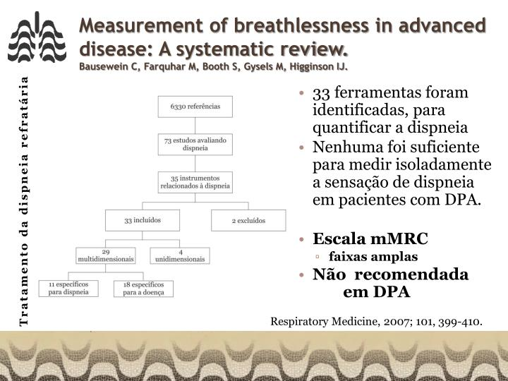 Measurement of breathlessness in advanced disease: A systematic review.