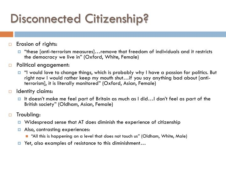 Disconnected citizenship