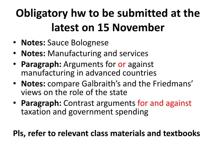 Obligatory hw to be submitted at the latest on 15 november