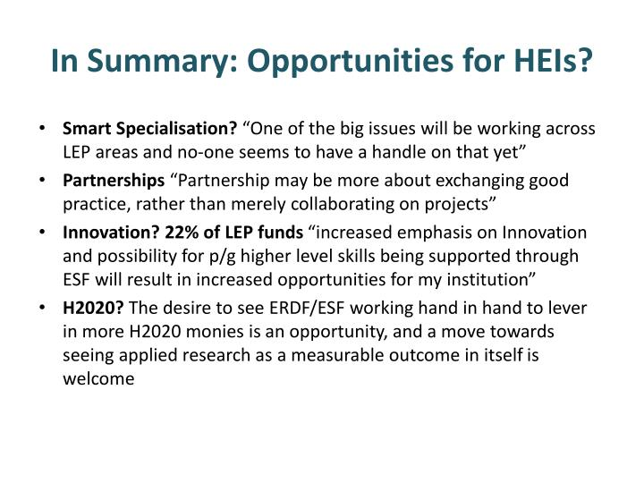 In Summary: Opportunities for HEIs?