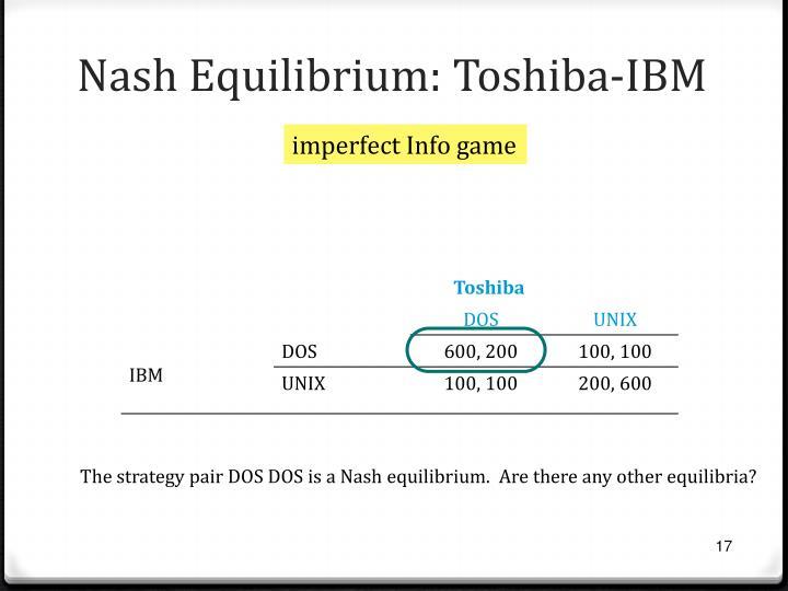 Nash Equilibrium: Toshiba-IBM
