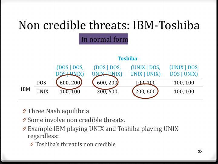 Non credible threats: IBM-Toshiba