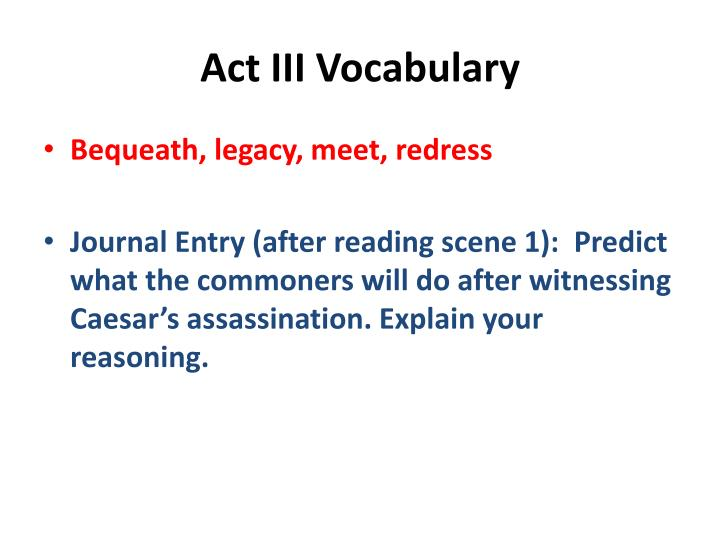 Act III Vocabulary