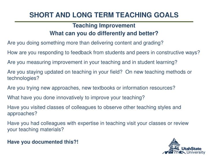short and long term Teaching goals