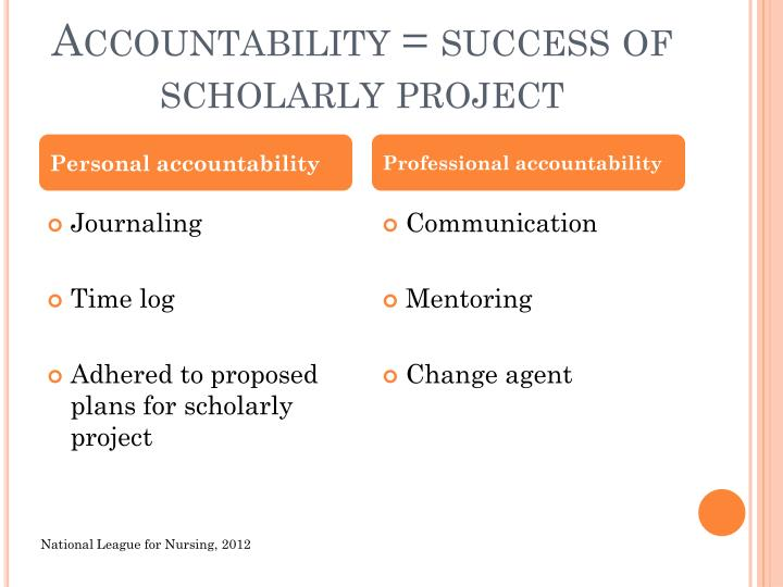 Accountability = success of scholarly project