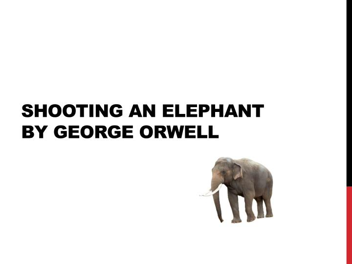 orwells shooting an elephant Critical analysis of shooting an elephant by george orwell shooting an elephant is perhaps one of the most anthologized essays in the english language it is a splendid essay and a terrific model for a theme of narration.
