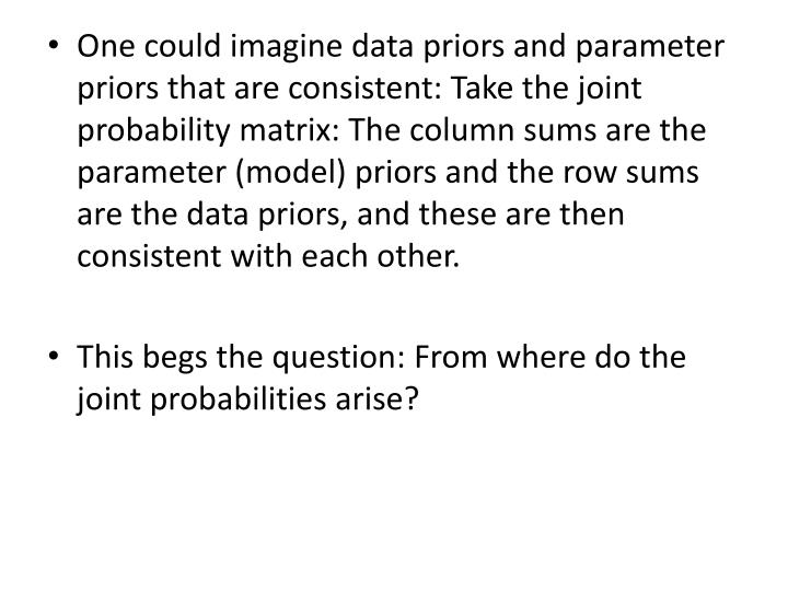 One could imagine data priors and parameter priors that are consistent: Take the joint probability matrix: The column sums are the parameter (model) priors and the row sums are the data priors, and these are then consistent with each other.