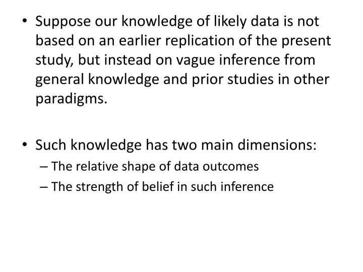 Suppose our knowledge of likely data is not based on an earlier replication of the present study, but instead on vague inference from general knowledge and prior studies in other paradigms.