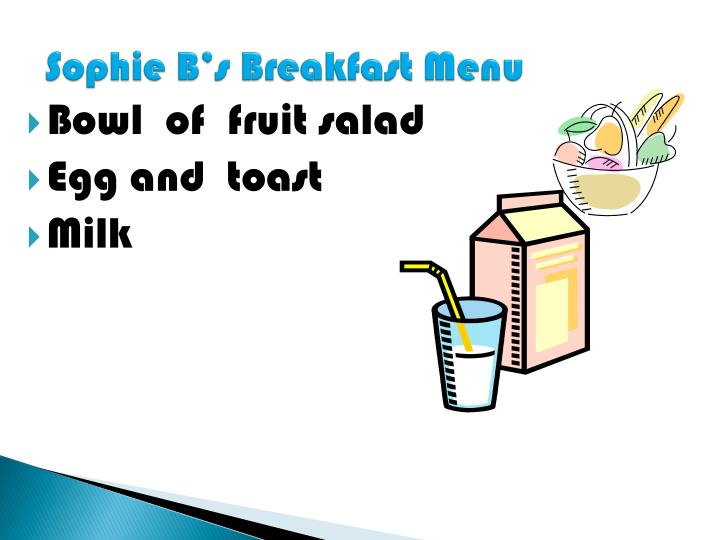 Sophie B's Breakfast Menu