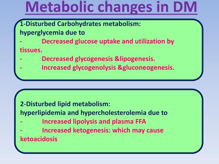 Metabolic changes in DM