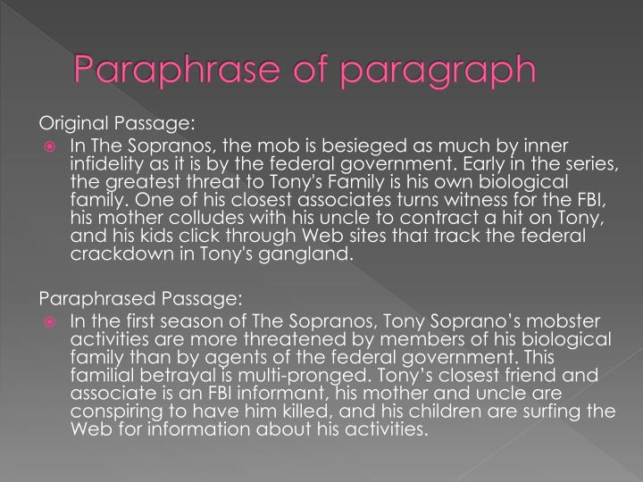 Paraphrase of paragraph