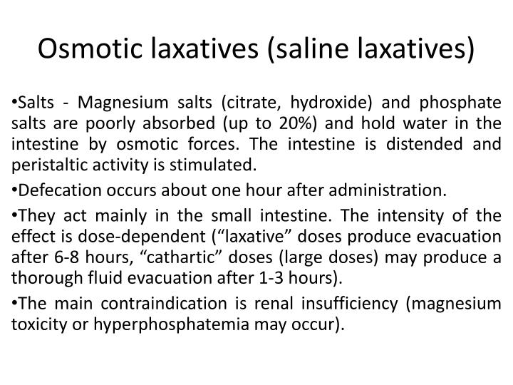 Osmotic laxatives (saline laxatives)