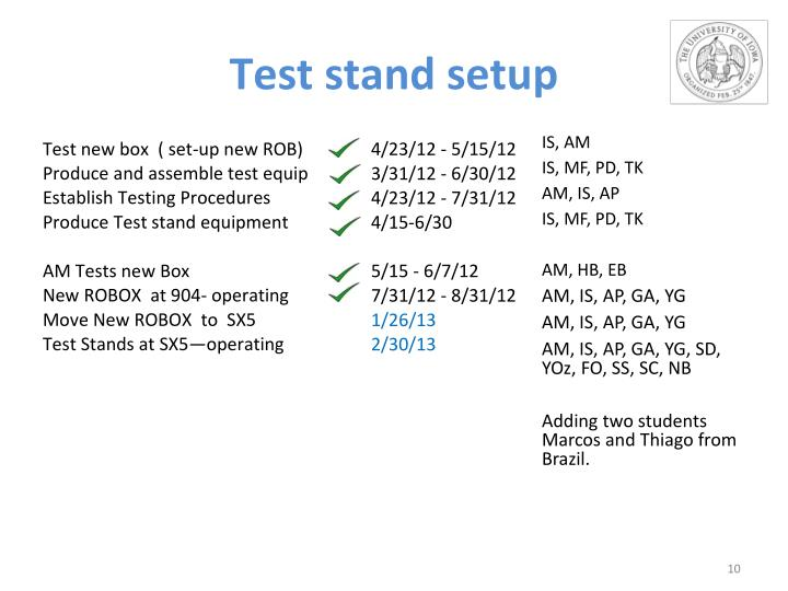 Test stand setup