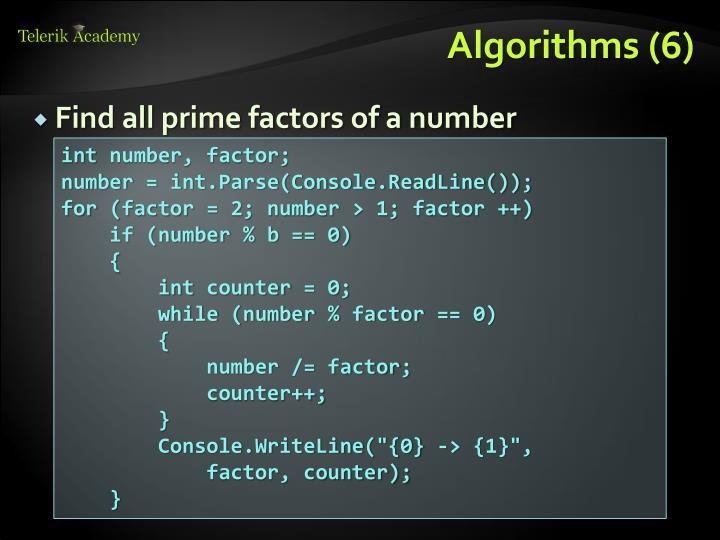 Find all prime factors of a number