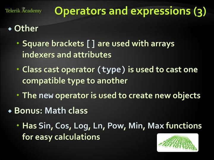 Operators and expressions (3)