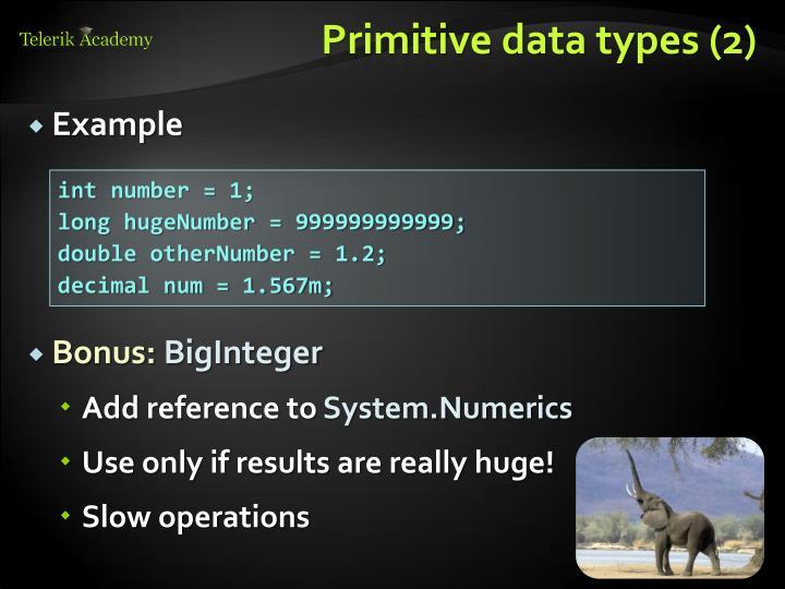 Primitive data types (2)