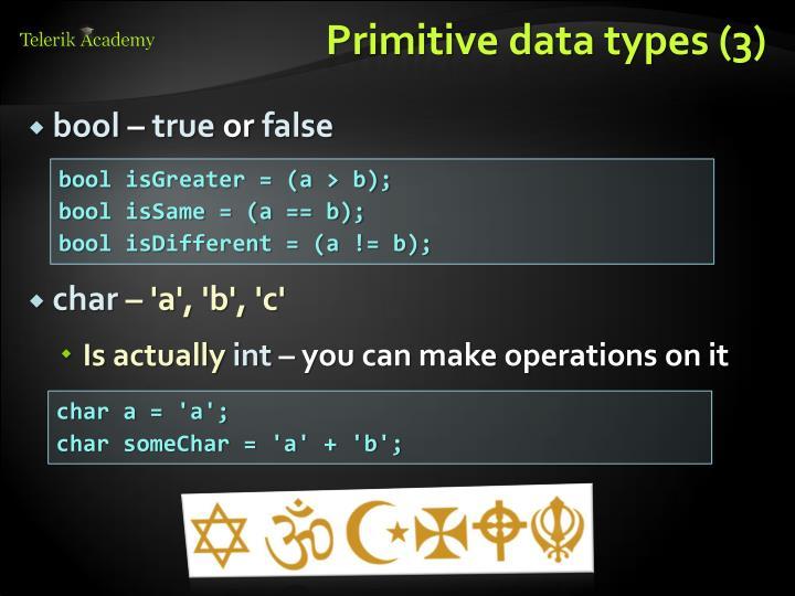 Primitive data types (3)