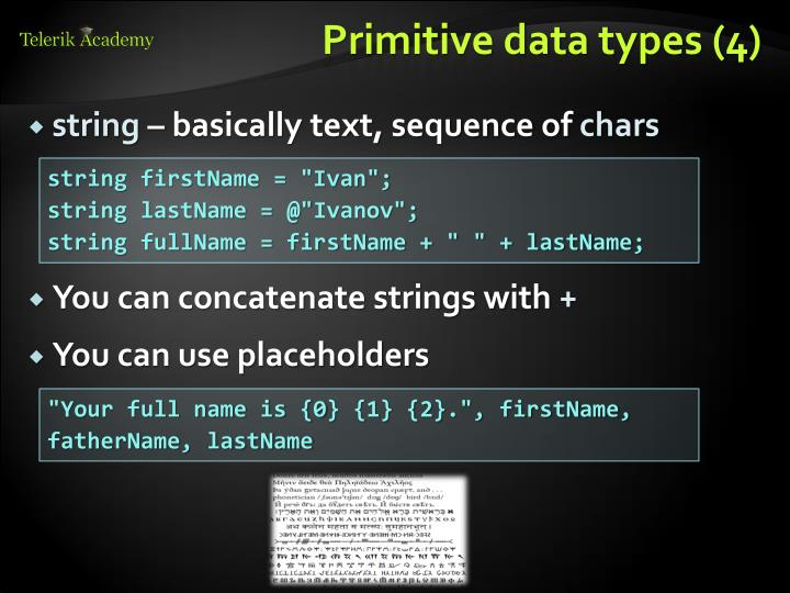 Primitive data types (4)