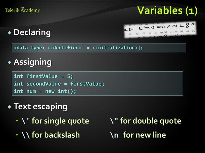 Variables (1)