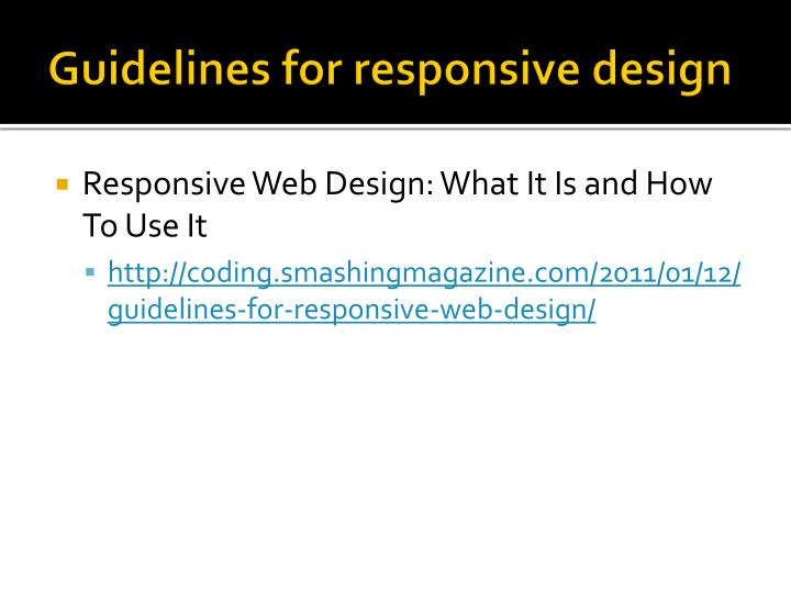 Guidelines for responsive design