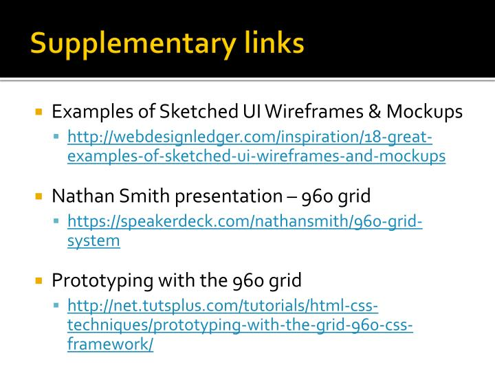 Supplementary links