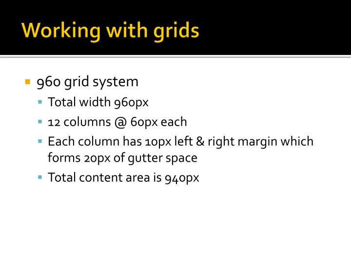 Working with grids