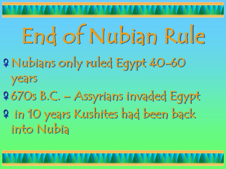 End of Nubian Rule