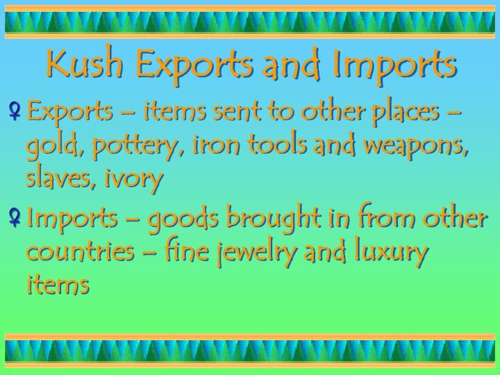 Kush Exports and Imports