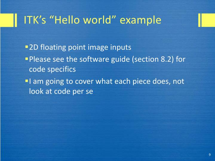 "ITK's ""Hello world"""