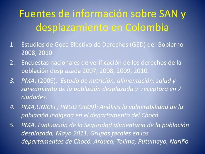 Fuentes de información sobre SAN y desplazamiento en Colombia