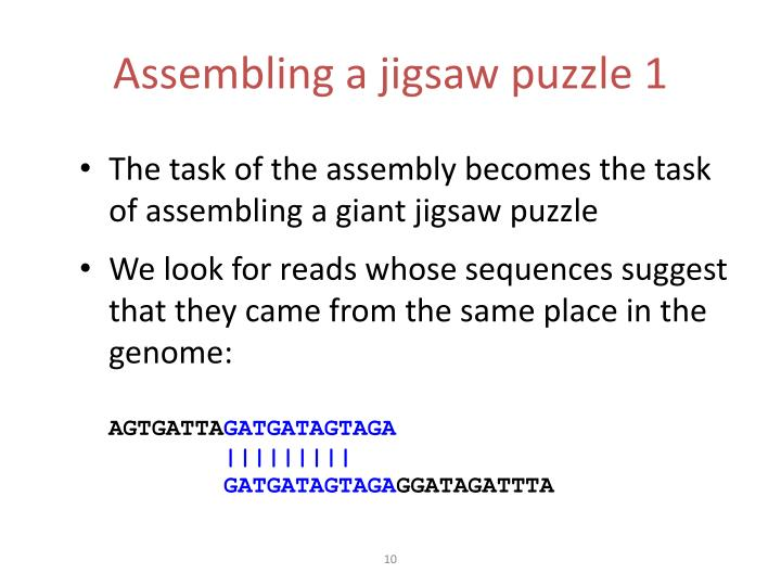 Assembling a jigsaw puzzle 1