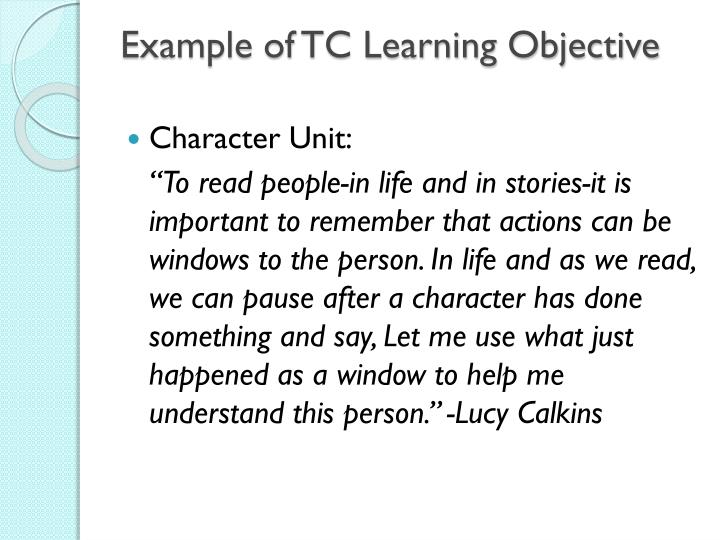 Example of TC Learning Objective