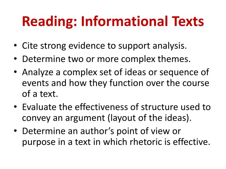 Reading: Informational Texts