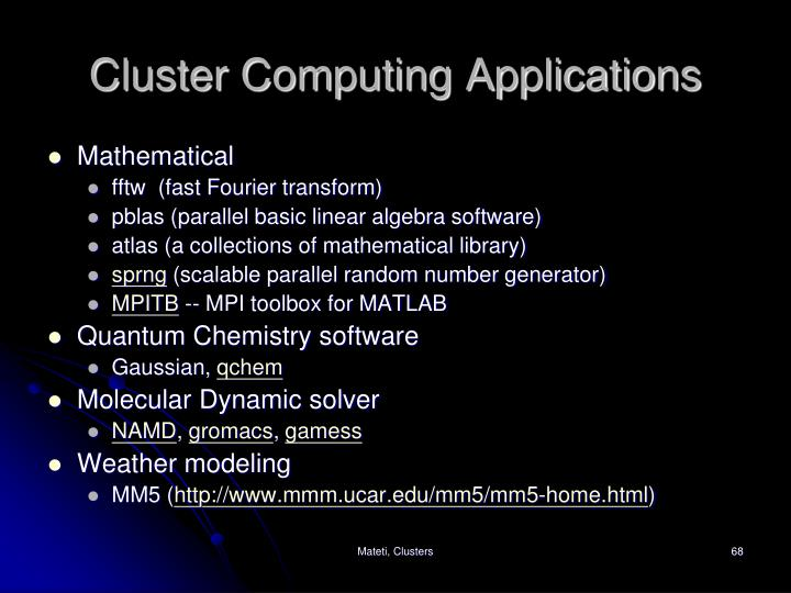 Cluster Computing Applications
