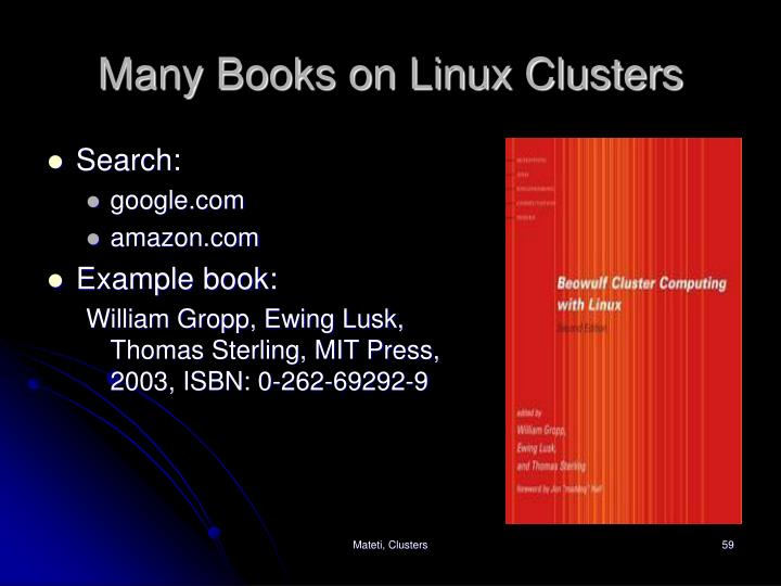 Many Books on Linux Clusters